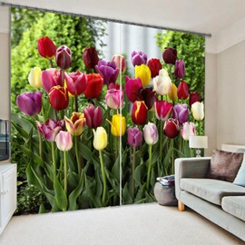 Colorful Tulips Printed Pastoral Style Custom 3D Curtain for Living Room