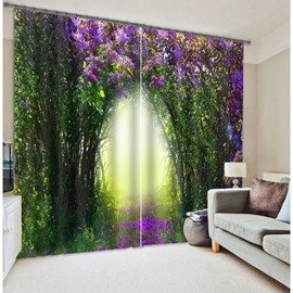 3D Green Trees and Purple Flowers Corridor Printed Thick Polyester Dreamy Style Decorative Curtain