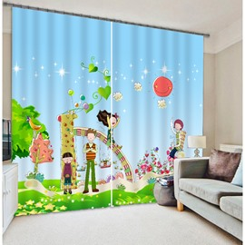 High Quality Kid's Cartoon Print 3D Blackout Curtain