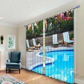 3D Swimming Pool Print Light Blocking Curtain