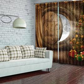 Amazing Christmas Theme 2 Panels Polyester Custom Energy Saving 3D Curtain