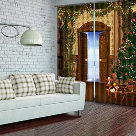 Wonderful Christmas Theme Polyester Living Room Custom 3D Curtain