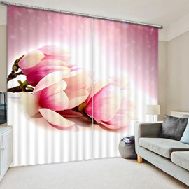 Gorgeous Light Pink Tulips Print 3D Blackout Curtain