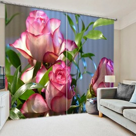 Lovely Blooming Pink Roses Printed Pastoral Style Custom 3D Blackout Curtain