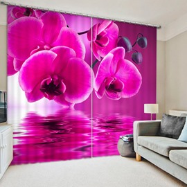 Lovely Pink Orchids Print 3D Blackout Curtain