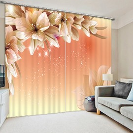 3D Beautiful Magnolia Flowers Printed Polyester Decoration Custom Curtain
