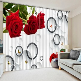 Romantic Red Roses and Circles Custom Creative 3D Curtain for Living Room