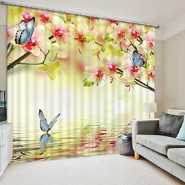 Pink Peach Flowers and Blue Butterflies Print 3D Curtain