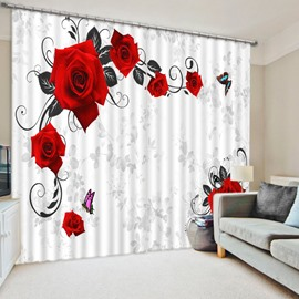 3D Beautiful Red Rose and Butterflies Printed Polyester Floral Scenery 2 Panels Curtain