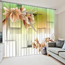 Elegant Blooming Flowers Print 3D Blackout Curtain