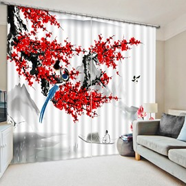 A Magpie Standing on the Red Plum Blossom Tree Print 3D Blackout Curtain