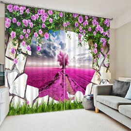 Purple Grassland out of the Wall Print 3D Blackout Curtain
