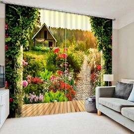 Log Cabin and Path with Flowers Print 3D Blackout Curtain