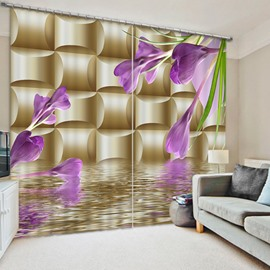 Purple Butterfly Orchids Print 3D Blackout Curtain