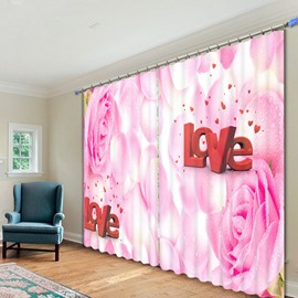 Pink Rose with Love Printed 3D Curtain