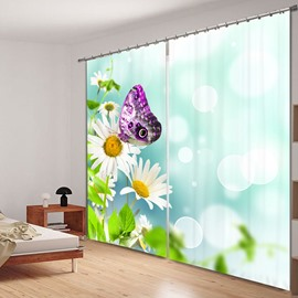 Purple Butterfly on the White Flower 3D Printed Polyester Curtain
