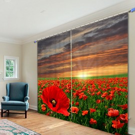 Beautiful Red Flower Sea 3D Printed Polyester Curtain