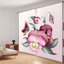 Elegant Pansy Flower 3D Printing Polyester Curtain
