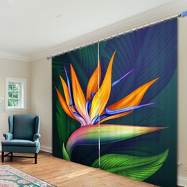 Abstract Art Lotus 3D Printing Polyester Curtain