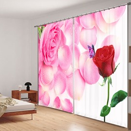 Romantic Pink and Red Roses 3D Printing Polyester Curtain