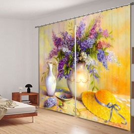 Oil Painting Flowers and Yellow Hat 3D Printed Polyester Curtain