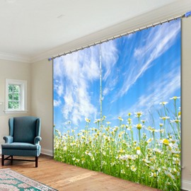 Daisy Field in Blue Sky 3D Printed Polyester Curtain
