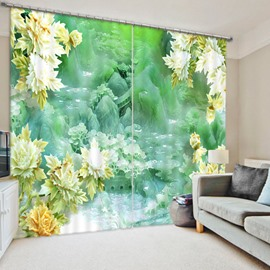 Hardstone Carving Flowers 3D Printed Polyester Curtain