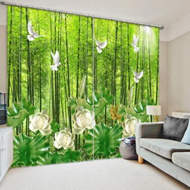 White Bird and Flower in the Forest 3D Printed Polyester Curtain