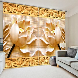 Fantastic Embossed Lotus 3D Printed Polyester Curtain