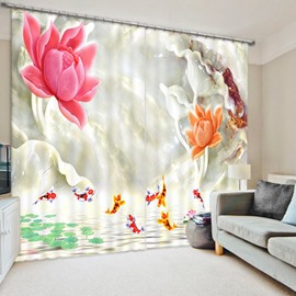 Colored Flower and Golden Fish 3D Printed Polyester Curtain
