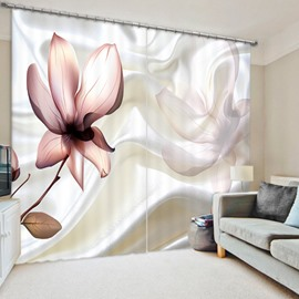 White Ribbon Flower 3D Printed Polyester Curtain