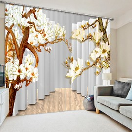 Wonderful Relief Magnolia 3D Printed Polyester Curtain