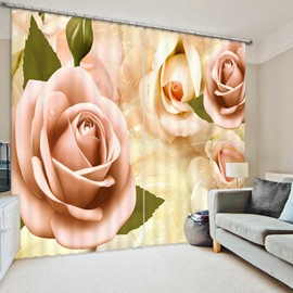 Romantic Pink Rose 3D Printed Polyester Curtain