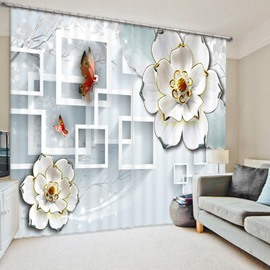 Designer White Relief Flower and Butterfly 3D Printed Polyester Curtain