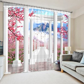 White Corridor and Pink Flowers 3D Printed Polyester Curtain