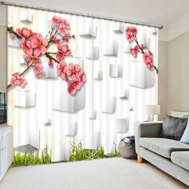 Designer Pink Plum Blossom 3D Printed Polyester Curtain