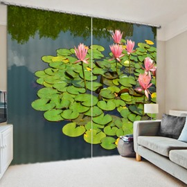 Lilies on the Water 3D Printed Polyester Curtain