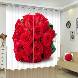3D Cluster of Red Roses Printed Romantic and Modern Style Decorative and Shading Curtain
