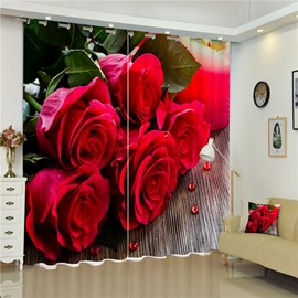 3D Red Roses Printed Thick Polyester Charming Pattern 2 Panels Decorative and Blackout Curtain