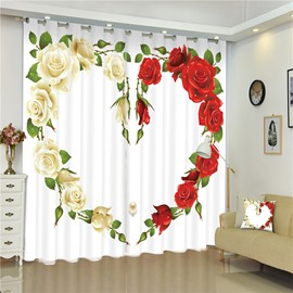 3D White Roses and Red Roses Heart-Shaped Printed Romantic Style 2 Panels Curtain