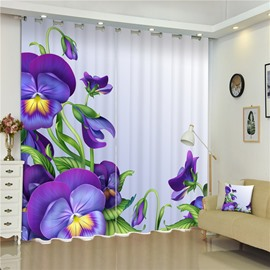 3D Purple Flowers Printed Romantic Style Charming Plants 2 Panels Living Room Curtain