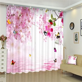 Flying Butterflies and Pink Peach Flowers Sweet Style Living Room and Bed Room 3D Curtain