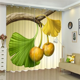 3D Beautiful Ginkgo Leaves Printed Fresh Style 2 Panels Living Room and Bedroom Curtain