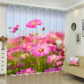 3D Pink flowers Printed Pastoral and Plants Style Thick Polyester 2 Pieces Room Curtain