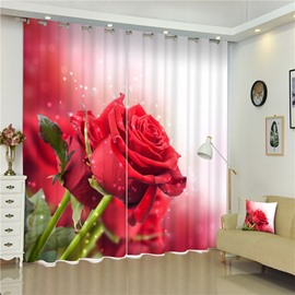 Romantic and Cozy Red Rose Thick Polyester Pastoral Style 2 Panels 3D Curtain