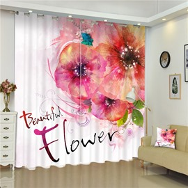 3D Orange Flowers Printed Pastoral Style 2 Panels Living Room Curtain