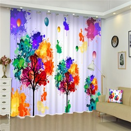 3D Abstract Bright Colored Trees and Balloon Printed Living Room Window Curtain