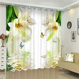 3D Beige Lily Blossoms and Beautiful Butterflies Printed Thick Polyester 2 Pieces Bedroom Curtain