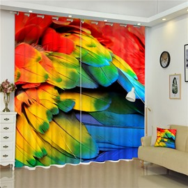 3D Beautiful and Bright Animal Feathers Printed Thick Polyester Decorative and Creative Curtain