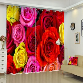 3D Bright Colored Red Pink and Yellow Roses Printed Charming Flowers 2 Panels Curtain